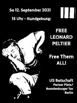 Kundgebung zu Leonard Peltiers 77. Geburtstag in Berlin